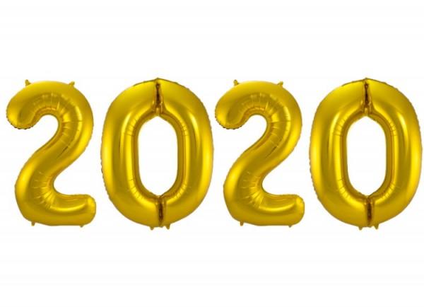 Silvester Folienballon mit Jahr 2020 in Farbe Gold