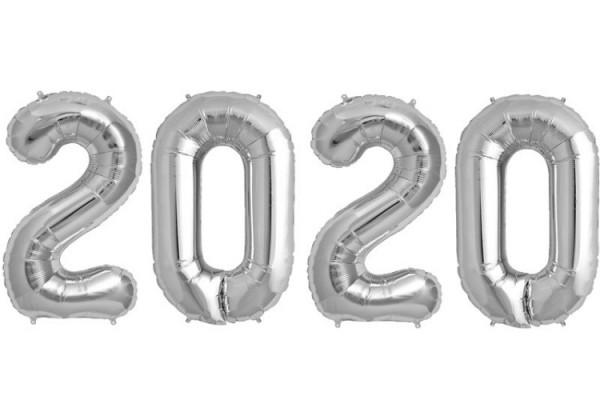 Silvester Folienballon mit Jahr 2020 in Farbe Silber